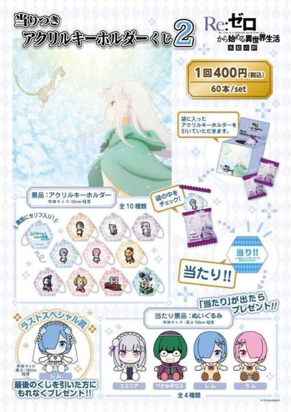 Hittsuki acrylic key chain kuji 2 Re: Life in a different world starting from zero