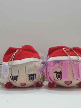 Re:Zero Emilia & Ram small Nesoberi Plush Key Chain (Xmas)